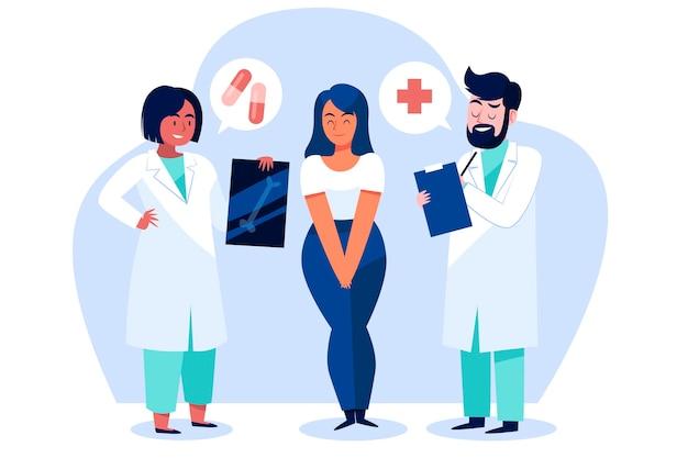 Arts die een patiënt onderzoekt bij de kliniek