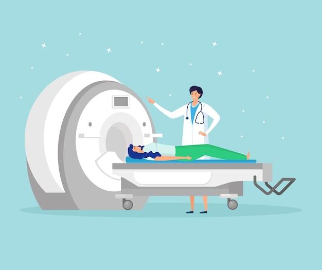Arts die het brein van de patiënt scant door middel van magnetic resonance imaging technology