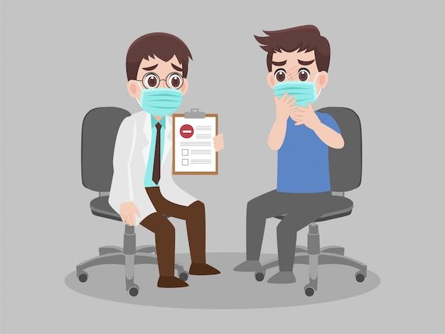 Arts die laboratoriumresultaten van een patiënt die negatief