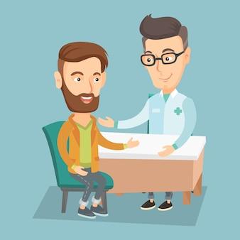 Arts die mannelijke patiënt in bureau raadpleegt.