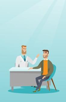 Arts die mannelijke patiënt in bureau raadplegen.