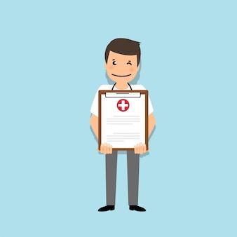 Arts die medisch klembord, illustratie houdt. concept gezondheidszorg. medische achtergrond.