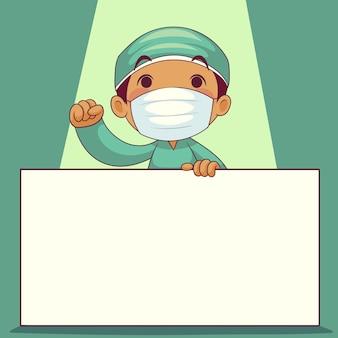 Arts die medisch masker met het stripfiguur van het whiteboardlabel draagt. covid-19-uitbraak medisch personeel. illustratie.