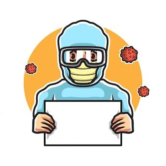 Arts die met hazmatkostuum een teken houdt