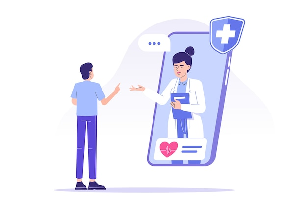 Arts die online advies geeft aan de patiënt