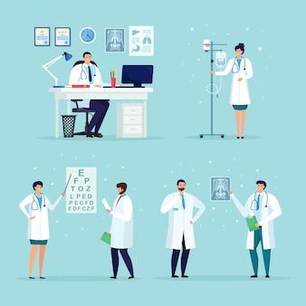 Arts die op de patiënt wacht aan de balie in het medische kantoor van het ziekenhuis. verpleegster met druppelteller, druppelaar. oogarts controleer oog zicht, visie. optische oogtest.