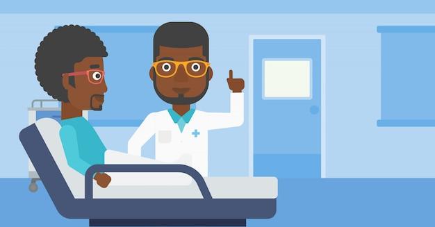 Arts die patiënt bezoekt.