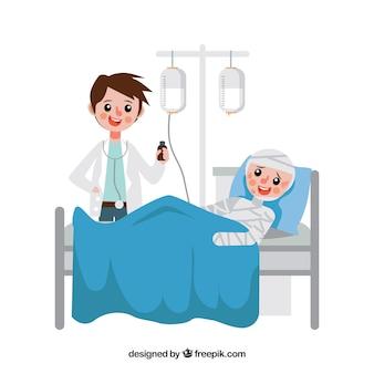 Arts die patiënt in bed behandelt