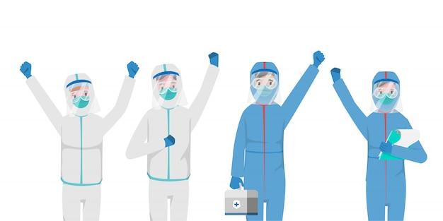 Arts die patiënten redt van een uitbraak van het coronavirus en de covid-19 bestrijdt.