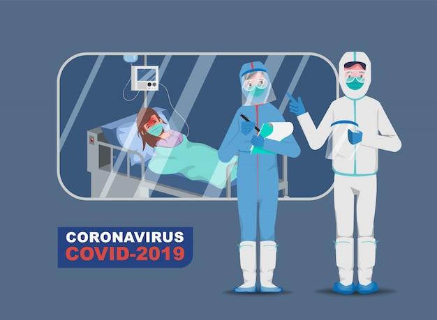 Arts die patiënten redt van een uitbraak van het coronavirus en het bestrijden van het coronavirus. ziek met covid-19.