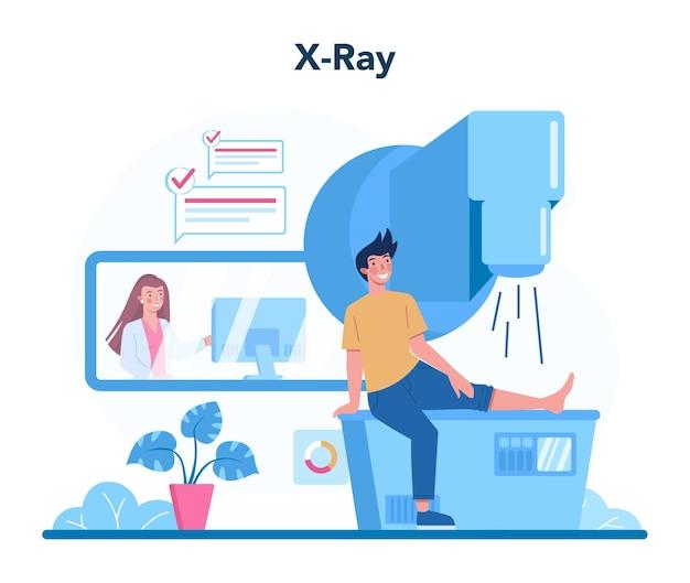 Arts die röntgenfoto van mens onderzoekt