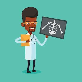 Arts die röntgenfotoillustratie onderzoekt.