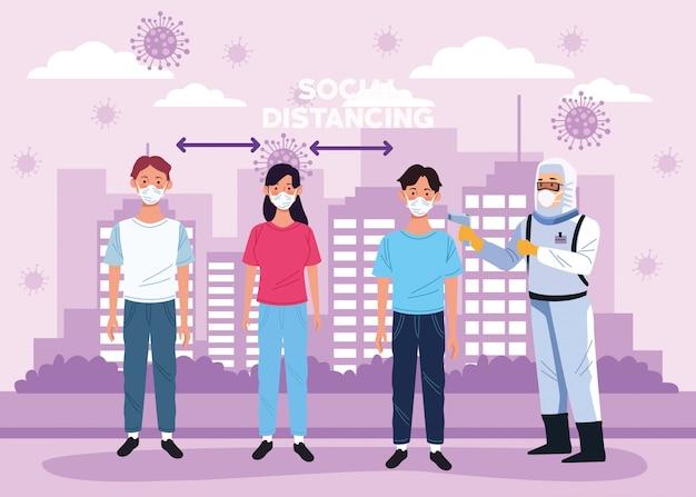 Arts die temperatuur en sociale afstand controleert