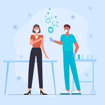 Arts die vaccin injecteert aan de illustratie van een patiënt