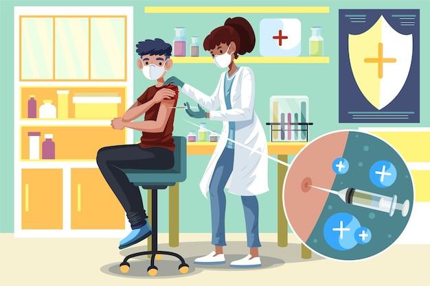 Arts die vaccin injecteert aan een geïllustreerde patiënt