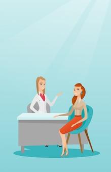 Arts die vrouwelijke patiënt in bureau raadpleegt.