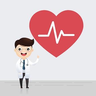 Arts die zich met teken van hartslag bevindt. gezondheid concept. vector illustratie.