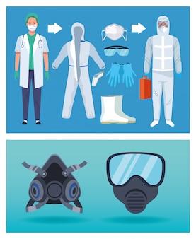 Arts en bioveiligheidsmedewerkers met apparatuurelementen voor covid19-bescherming