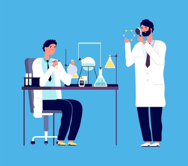Arts en chemisch onderzoeker. epidemiologie, wetenschappers onderzoeken virus of coronavirus. vrouw in beschermend pak onderzoekt analyses vectorillustratie. chemische analyse, chemicus medisch laboratorium