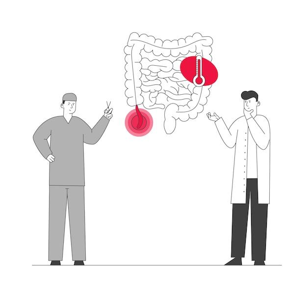 Arts en chirurg staan op de menselijke darmen