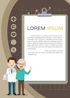 Arts en grootvader met rapport voor uw tekst