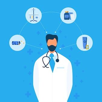 Arts en nieuw medicatie creatie plat stroomdiagram