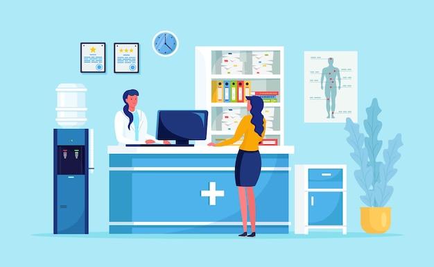 Arts en patiënt bij de ziekenhuisreceptie. vrouw wacht arts in de hal van de kliniek. mensen, medisch personeel in wachtkamer van ambulanceafdeling. overleg, diagnoseconcept. ontwerp