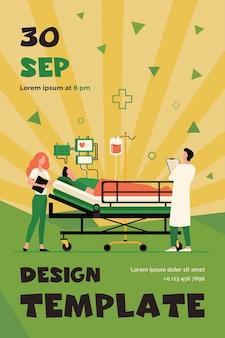 Arts en verpleegkundige die medische zorg geven aan de patiënt in bed geïsoleerd plat flyer-sjabloon