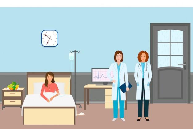 Arts en verpleegkundige met een vrouwelijke patiënt. geneeskundearbeiders die zich dichtbij ziektevrouw bevinden in het ziekenhuisafdeling.