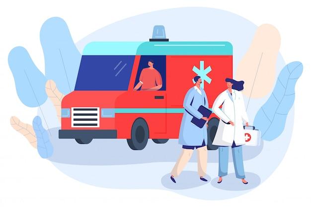 Arts en verpleegster bij ambulance auto, eerste hulp voertuig vectorillustratie