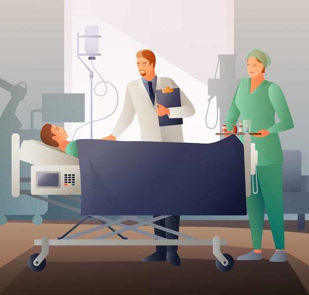 Arts en ziek platte compositie