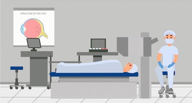 Arts gaat oogchirurgie uitvoeren met behulp van microscoop. patiënt liggend op tafel in de operatiekamer. professionele medische dienst. gezondheidszorg en behandeling. vlak