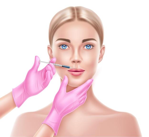 Arts handen in roze handschoen met spuit waardoor injectie aan mooie vrouw gezicht