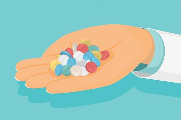 Arts houdt een handvol pillen in de hand medische gezondheidszorg