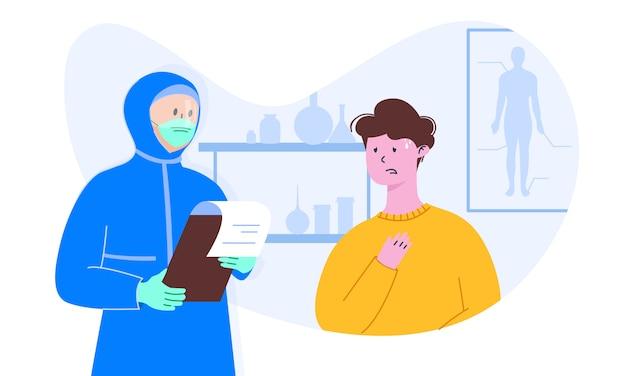 Arts in algemeen medisch kostuum in masker en gelaatsscherm met lijstblad controleert een patiënt met coronavirus.