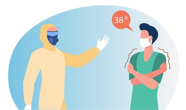 Arts in beschermend pak die man met koorts helpt. hoge lichaamstemperatuur platte vectorillustratie. ziektesymptomen, geïnfecteerde patiënt