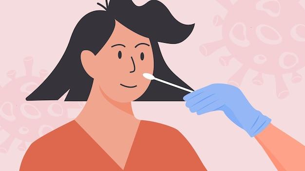 Arts in latexhandschoenen neemt een neusuitstrijkje. covid pcr-test. vrouw neemt coronavirus in kliniek