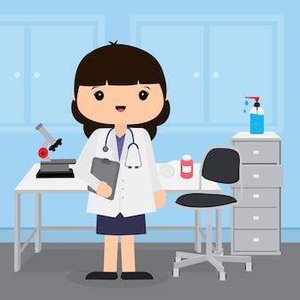 Arts jonge vrouw die werkt in de kamer in het ziekenhuis. medisch concept in het karakterontwerp van het illustratiebeeldverhaal.