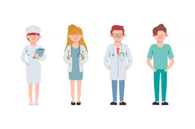 Arts karakter en verpleegster ingesteld voor geneeskunde. gezondheidszorg medische mensen geanimeerd.
