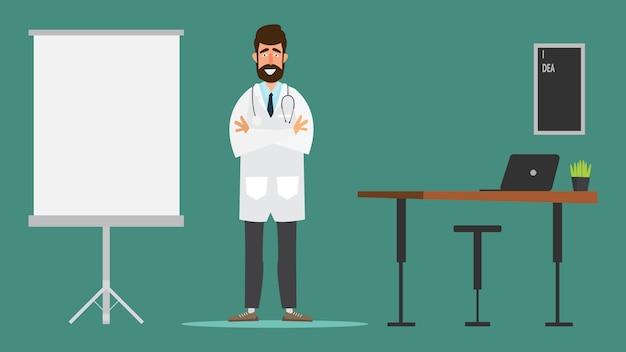 Arts karakter ontwerp in ziekenhuis medisch kantoor. armen over elkaar.
