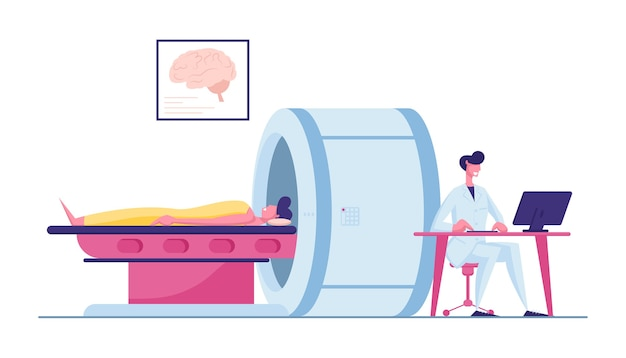 Arts kijken naar resultaten van de hersenscan van de patiënt