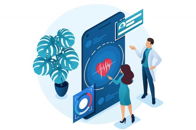Arts laat de patiënt zien hoe de toepassing moet worden gebruikt om de gezondheid te behouden. gezondheidszorg concept. 3d isometrisch.