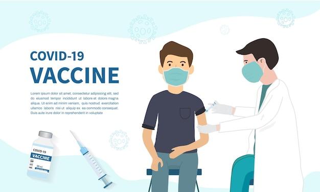 Arts maakt een injectie van vaccin aan de mens covid19 vaccin banner achtergrond sjabloon