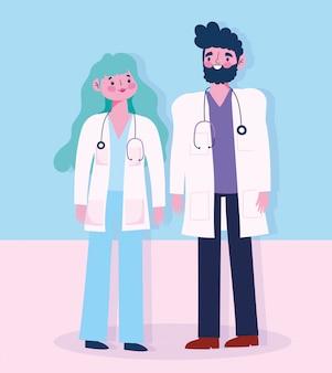 Arts mannelijk en vrouwelijk met karakter van de stethoscoop het professionele beroep