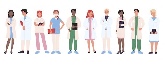 Arts mensen illustratie. cartoon man vrouw medische groep arts tekens, ziekenhuis werknemer team met verpleegkundige, arts, chirurg. professionele geneeskunde personeel beroep geïsoleerd