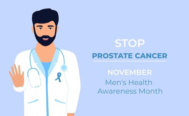 Arts met blauw lint op witte medische jurk toont gebaar om prostaatkanker te stoppen