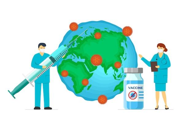 Arts met coronavirus infectie vaccin spuit en ampul op geïnfecteerde aarde planeet. covid-19 ziekte vaccinatie schot. medisch 2019-ncov beschermingsmedicijn. wereldwijde menselijke immunisatie illustratie