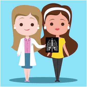 Arts met een patiënt x ray diagnosticeren