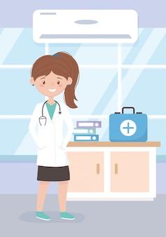 Arts met een stethoscoop en kit ehbo medisch personeel professionele arts stripfiguur