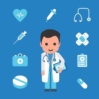 Arts met geneeskunde pictogram plat
